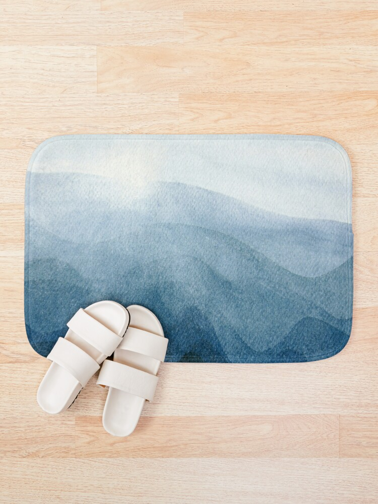 Alternate view of Blue Sunrise in the mountains, dawn, abstract watercolor Bath Mat
