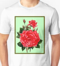 RED ROSES; Vintage Flower Art Print Unisex T-Shirt