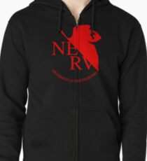 Nerv Logo, Neon Genesis Evangelion Zipped Hoodie