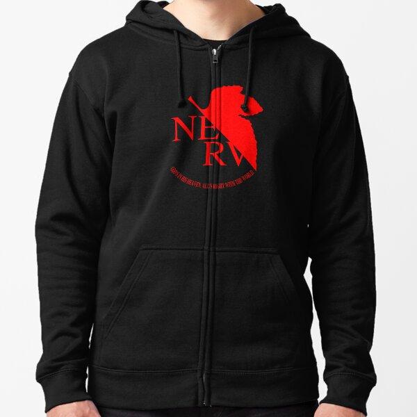 Logotipo de Nerv, Neon Genesis Evangelion Sudadera con capucha y cremallera