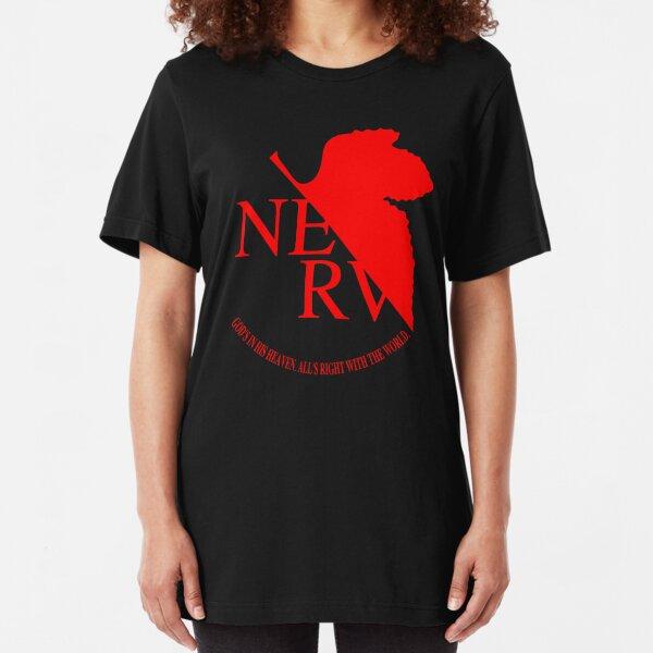 Nerv Logo, Neon Genesis Evangelion Slim Fit T-Shirt