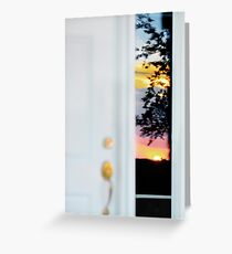 Sunset reflection in window panel... Greeting Card