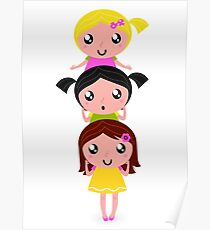 Happy childrens group : pink, yellow : friendship school girls Poster