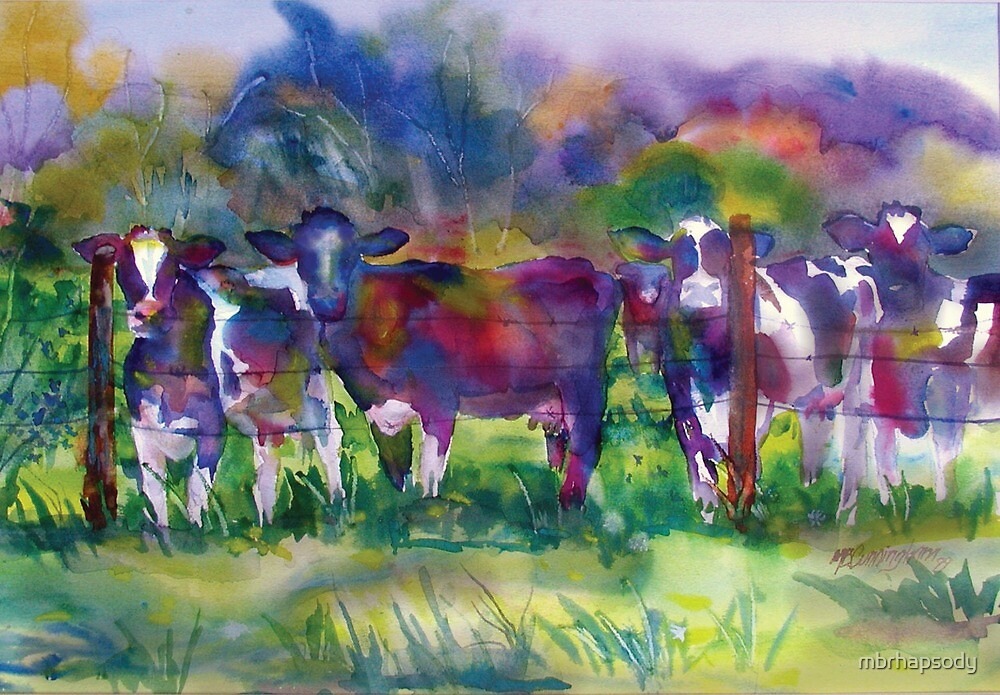 Cows In Chromacolor Watercolor by Marybeth Cunningham