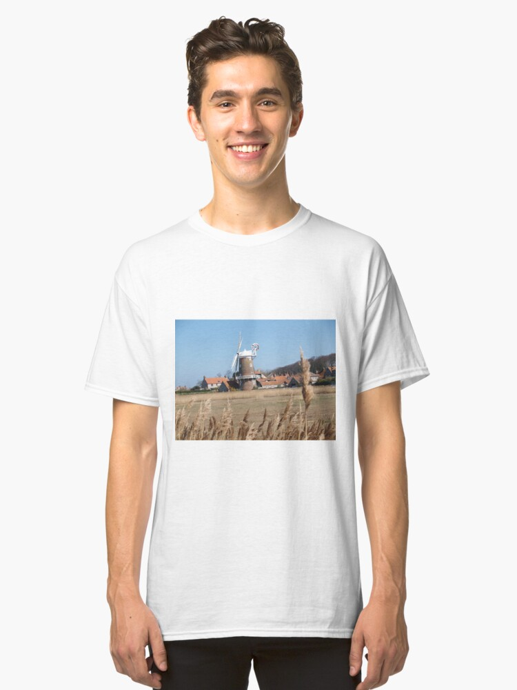Cley Windmill from the reeds Classic T-Shirt Front