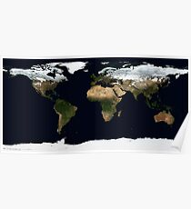 World Map [HD] - Satellite Topography Poster