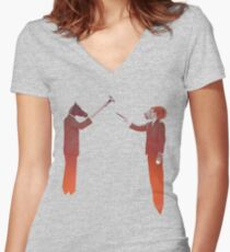 Horse Man and Lion Log Women's Fitted V-Neck T-Shirt