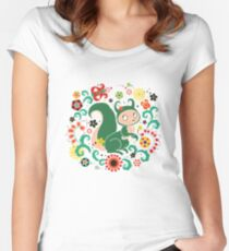 Russian FOLK  Green Squirrel. Women's Fitted Scoop T-Shirt