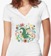 Russian FOLK  Green Squirrel. Women's Fitted V-Neck T-Shirt