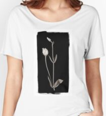 Lisianthus Buds against Black Women's Relaxed Fit T-Shirt