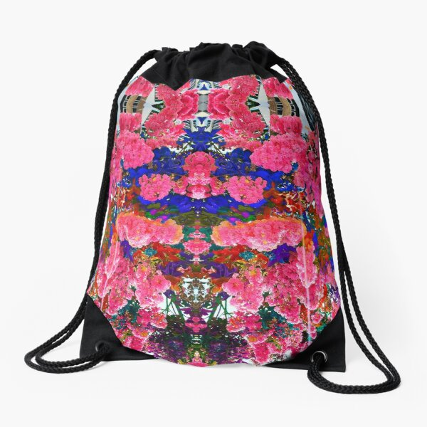 Floral Rainbow Drawstring Bag