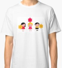 Cute childrens holding flowers : cartoon characters Classic T-Shirt