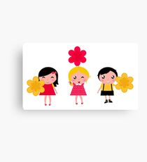 Cute childrens holding flowers : cartoon characters Canvas Print