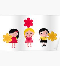 Cute childrens holding flowers : cartoon characters Poster