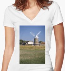 Stunning Panorama of Cley Windmill Women's Fitted V-Neck T-Shirt