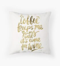 Coffee & Wine – Gold Throw Pillow