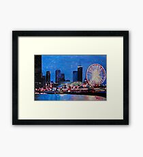 Chicago Skyline With Ferris Wheel Framed Print