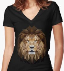 Lion low poly Women's Fitted V-Neck T-Shirt