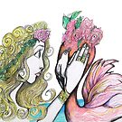 The Magical Girl and Her Flamingo Companion by Express Yourself Artshop