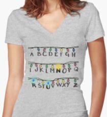 Stranger Things- R-U-N Women's Fitted V-Neck T-Shirt