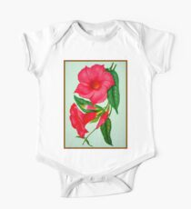 """HOLLYHOCK FLOWERS"" Vintage Art Print One Piece - Short Sleeve"