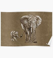 Swirly Elephant Family Poster