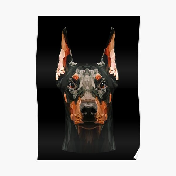 Doberman low poly Poster