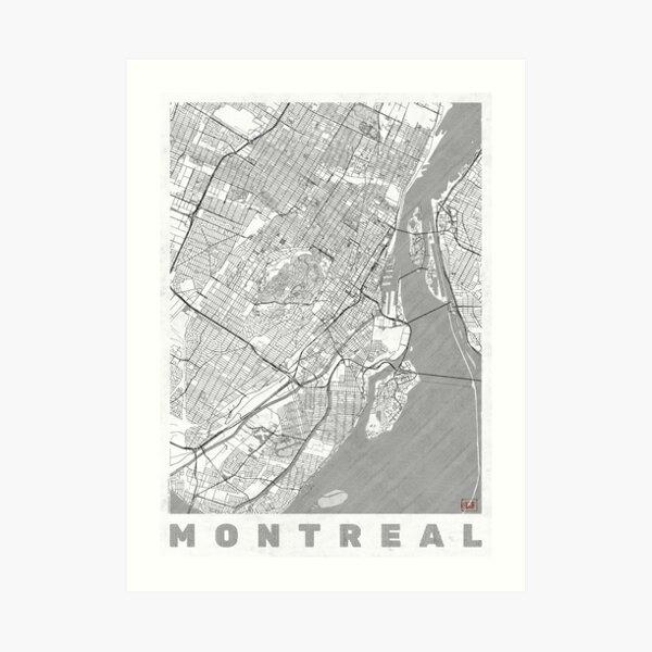 Línea del mapa de Montreal Lámina artística