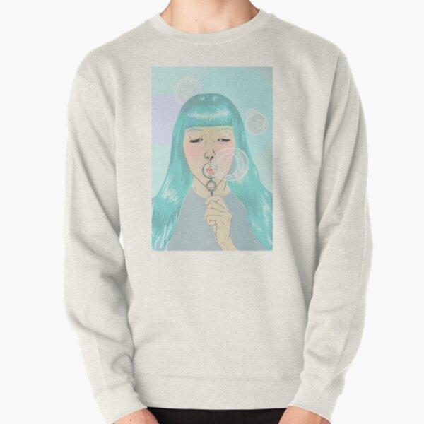 Blue Girl Blowing Bubbles Pullover Sweatshirt