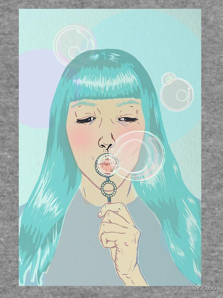 Blue Girl Blowing Bubbles by marichoo