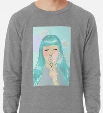 Blue Girl Blowing Bubbles Lightweight Sweatshirt