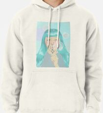 Blue Girl Blowing Bubbles Pullover Hoodie