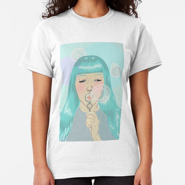 Blue Girl Blowing Bubbles Classic T-Shirt