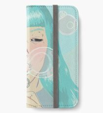 Blue Girl Blowing Bubbles iPhone Wallet/Case/Skin