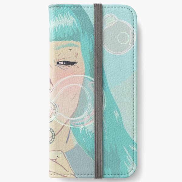 Blue Girl Blowing Bubbles iPhone Wallet