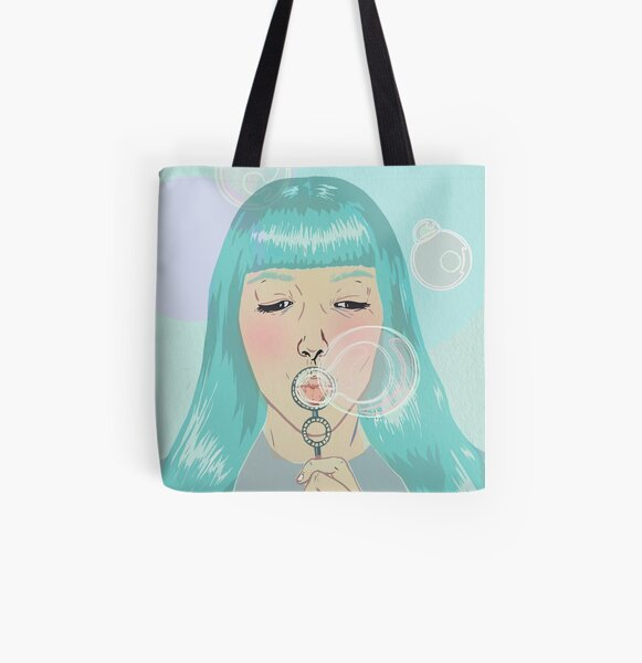 Blue Girl Blowing Bubbles All Over Print Tote Bag