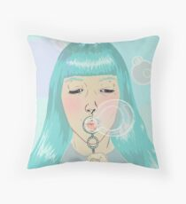 Blue Girl Blowing Bubbles Throw Pillow