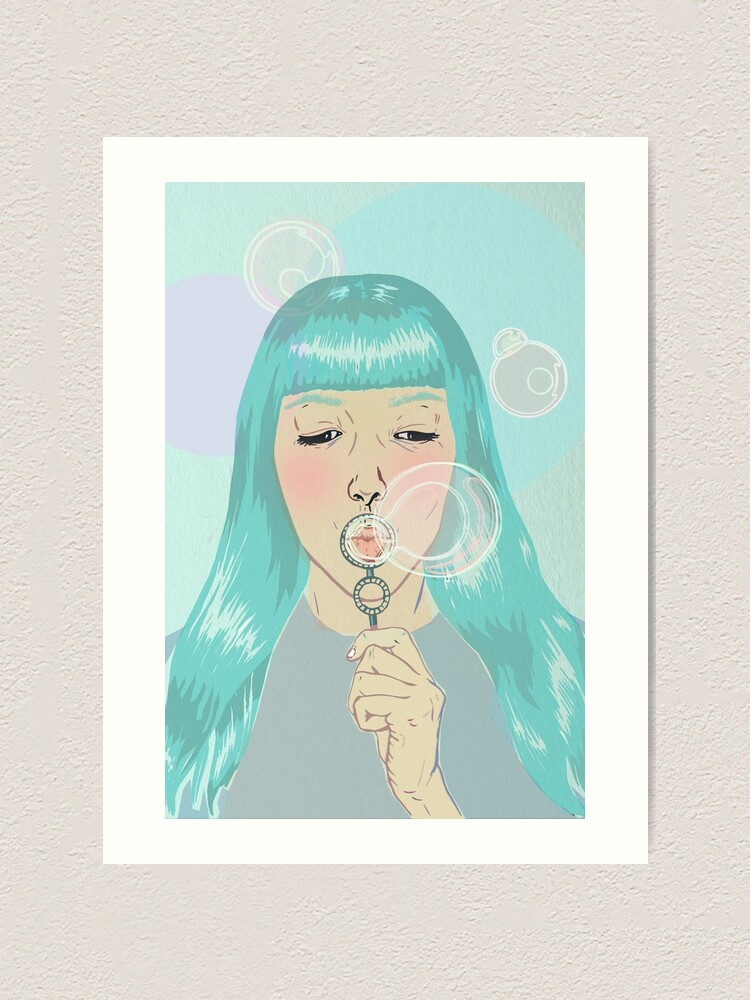 Alternate view of Blue Girl Blowing Bubbles Art Print