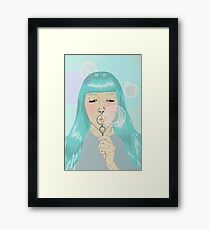Blue Girl Blowing Bubbles Framed Print