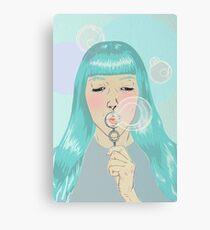Blue Girl Blowing Bubbles Canvas Print