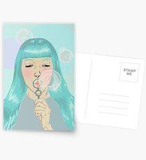 Blue Girl Blowing Bubbles Postcards