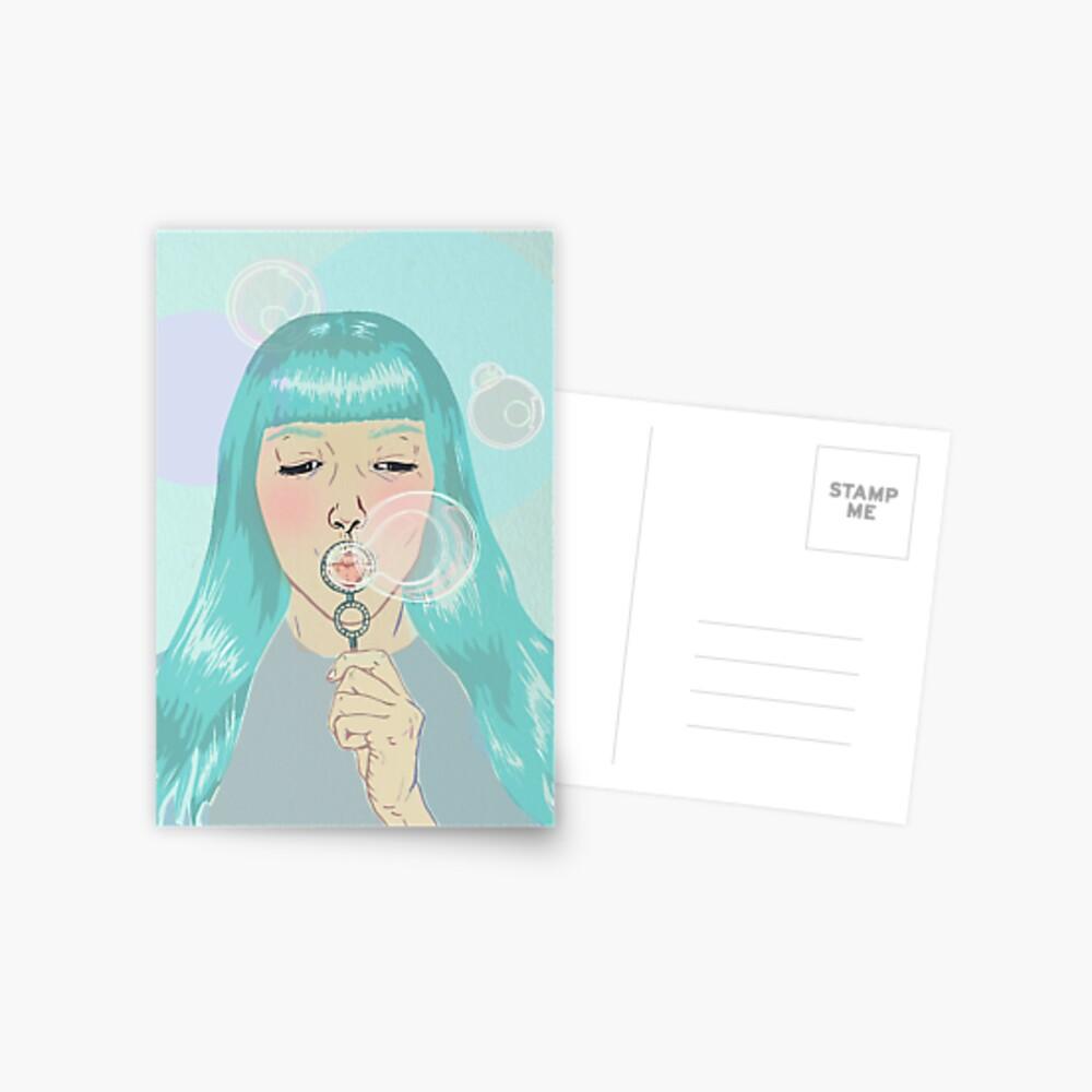 Blue Girl Blowing Bubbles Postcard