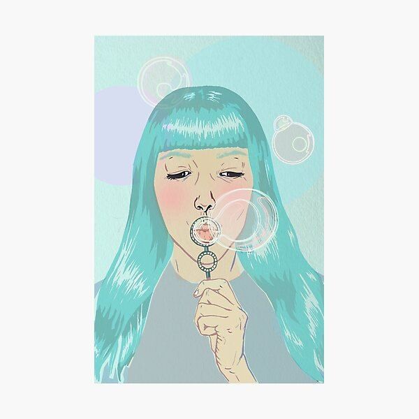 Blue Girl Blowing Bubbles Photographic Print