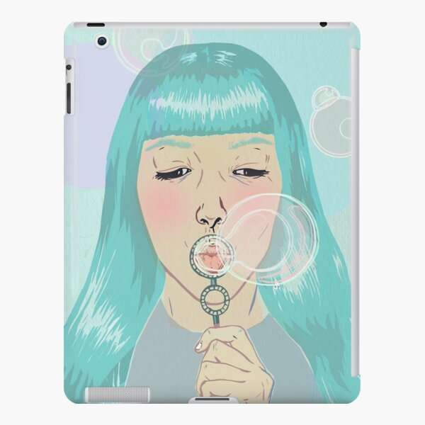 Blue Girl Blowing Bubbles iPad Snap Case