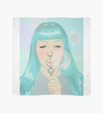 Blue Girl Blowing Bubbles Scarf