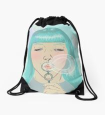 Blue Girl Blowing Bubbles Drawstring Bag