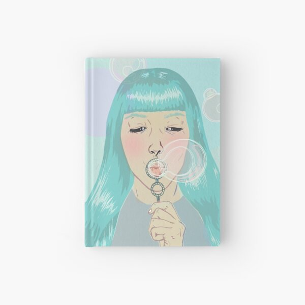 Blue Girl Blowing Bubbles Hardcover Journal