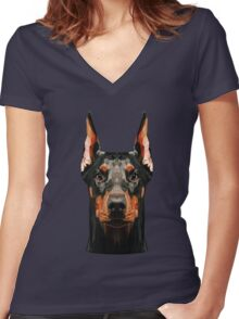 Doberman low poly Women's Fitted V-Neck T-Shirt