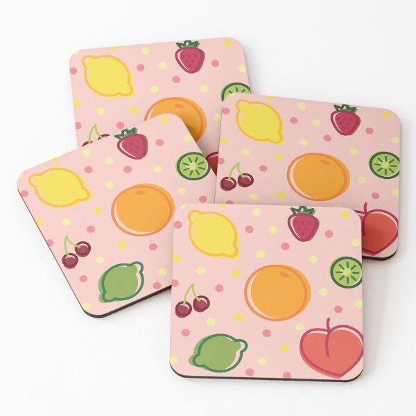 Pastel Summer Fruits Coasters (Set of 4)