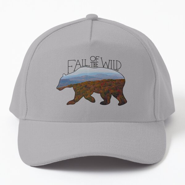 Fall of the Wild Autumn Mountain Wilderness Landscape Bear Silhouette  Baseball Cap